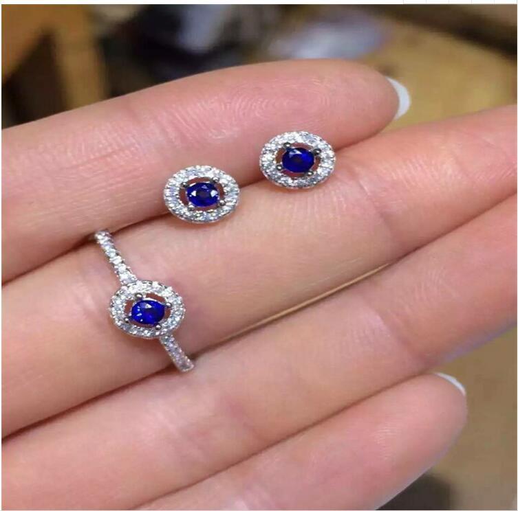Frete Grátis conjunto de jóias de safira Naturais 2 pcs Brinco, 1 pc anel Natural sapphire 925 sterling silver