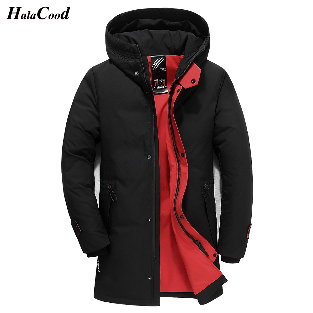 HALACOOD Brand 2018 Winter   Down   Jacket Men Casual Mid-Long Hit Color Duck   Down     Coat   Thickening Warm Hood Windproof Male Jacket