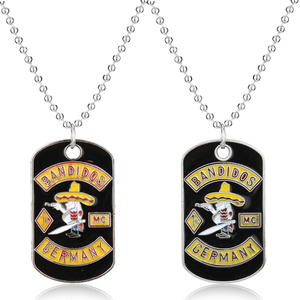 Germany Bandit Pendant Necklace Motorcycle Club Necklace With Beads Chain Biker Style Robber Pendant for Men Fans Gift-30