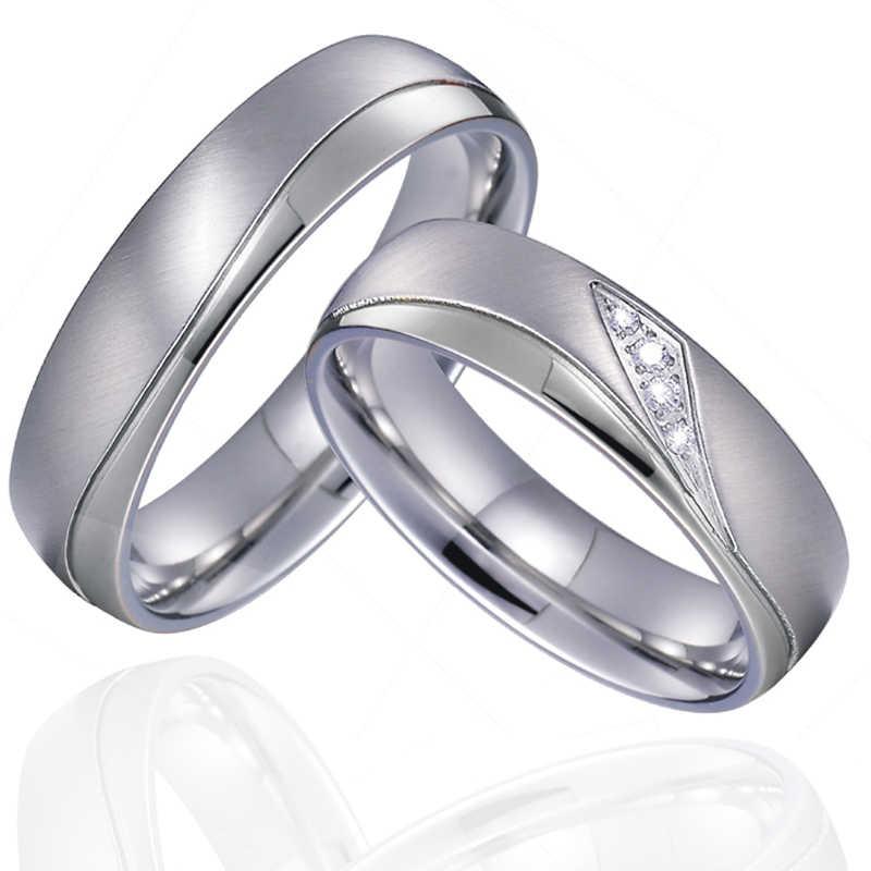 בריתות אהבה נישואים זוג חתונה טבעות סט עבור גברים ונשים כסף צבע טיטניום נירוסטה תכשיטי לא לדעוך/חלודה