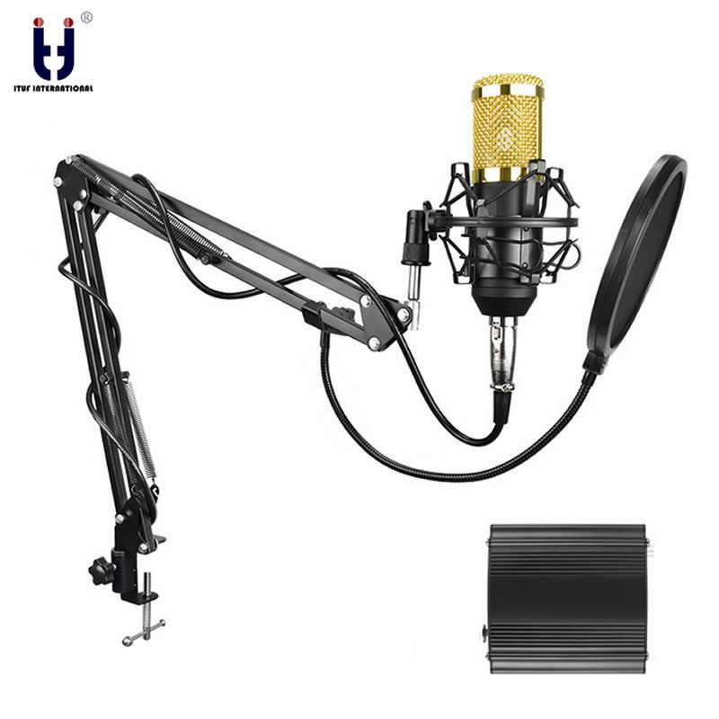 Ituf Professional Condenser Microphone for computer bm 800 Audio Studio Vocal Recording Mic KTV Karaoke + Metal Microphone stand