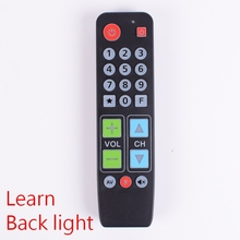 21 düğmeler uzaktan kumanda öğrenmek arka işık, büyük düğme denetleyici TV VCR için STB DVD DVB kutusu, kolay yaşlı insanlar için.