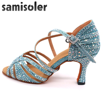 Samisoler  blue Rhinestone ballroom dance shoes women Salsa Professional tango Latin Shoes style high heels