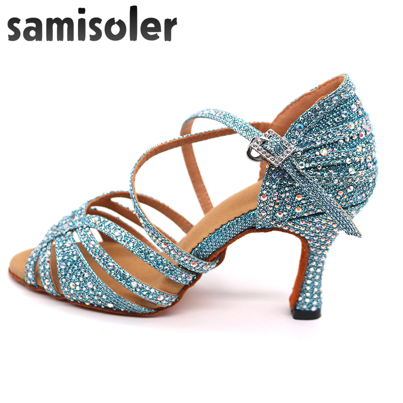 Samisoler blue Rhinestone ballroom dance shoes women Salsa dance shoes women Professional tango Latin Shoes style high heels