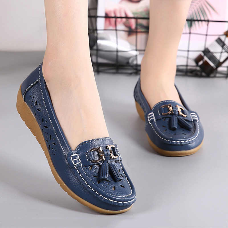 Fashion Lady Flats Women New Metal Decorations Soft Comfortable Hollow Out Casual Shoes Female Shoes Student 2018 Spring Autumn