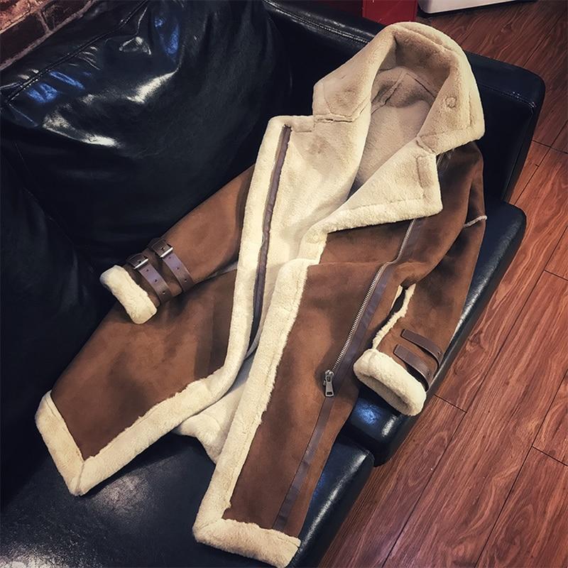 De beige Manteau Camel Suede Et Agneaux Peau W1589 Hiver Cuir Épais Mode Laine Chaud Manteaux Long En Mouton 2018 Femelle Faux Vestes Femmes Patchwork srdQthC