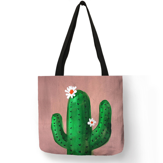 2018 Fashion Hot Watercolor Plant Linen Bag With Cactus Print Multi Use Tote Bag Shopping Bags For Women Lady