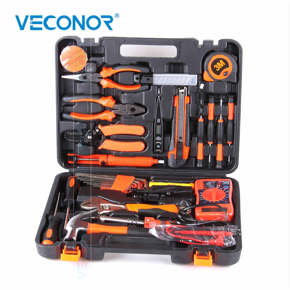 35pcs Electrician Hand Tool Set Kit Household Tool Kit Saw Screwdriver Hammer Tape Measure Wrench Plier
