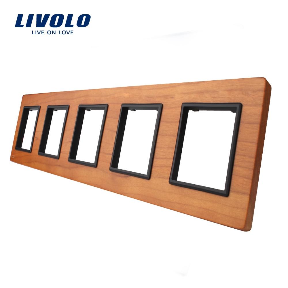 Livolo Luxo Painel Interruptor de Madeira de Cerejeira, 364mm * 80mm, padrão DA UE, Painel De Madeira Para A Tomada de Parede quintuplicar, VL-C7-5SR-21