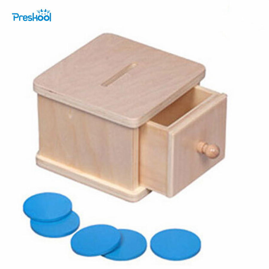 Montessori Kids Toy Baby Wood Infant Coin Box Piggy Bank Learning Educational Preschool Training Brinquedos Juguets