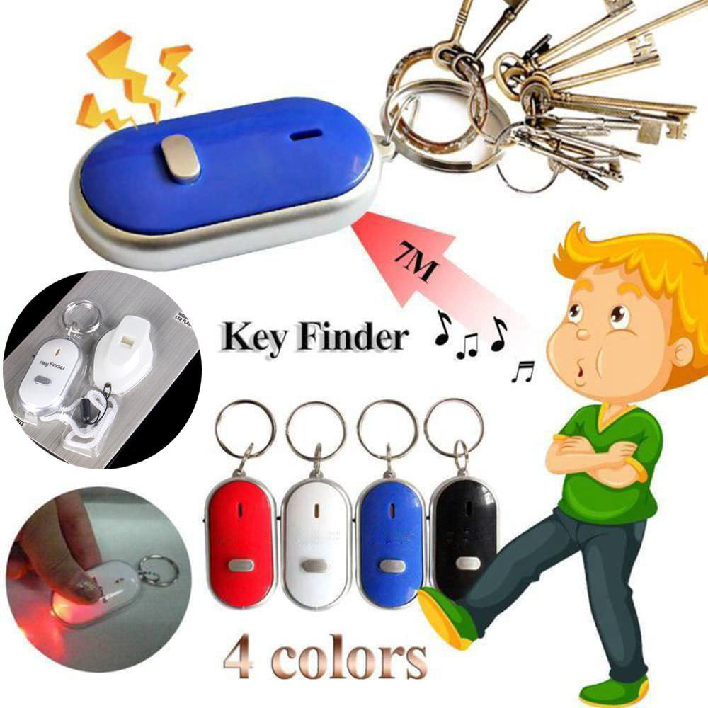 LED Anti-Lost Key Finder Locator Keychain Whistle Sound Control Keyring Whistle Sound Control Holder Rings Jewelry
