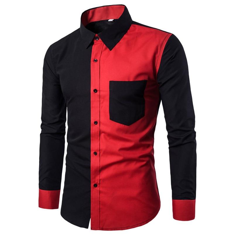 2018 shirt Men Summer Brand Casual Slim Fit Stylish Long Sleeve Basic Shirt Blouse Top Size M-3XL camisa masculina #FM21