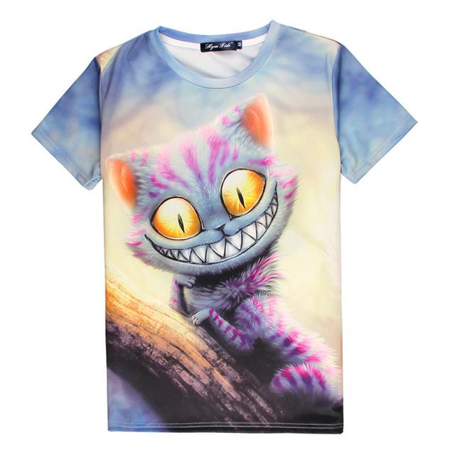 Cheshire Cat T-shirt Impressão 3D Sorriso Kitty Algodão quente Unisex Homme Alice no País Das Maravilhas Traje Tee Verão Camisas Casual Tops