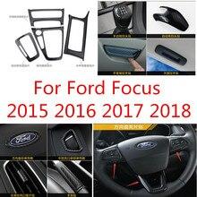 Автомобильные аксессуары высокого качества АБС карбоновое волокно внутренняя отделка пайетки, приборная панель накладка для Ford Focus 2015 2016 2017 2018