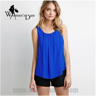 Fast-venda WomensDate Venda Quente 2017 das Mulheres do Verão Cor Sólida Sem Mangas Chiffon Camisa Colete Atrás Da Cruz