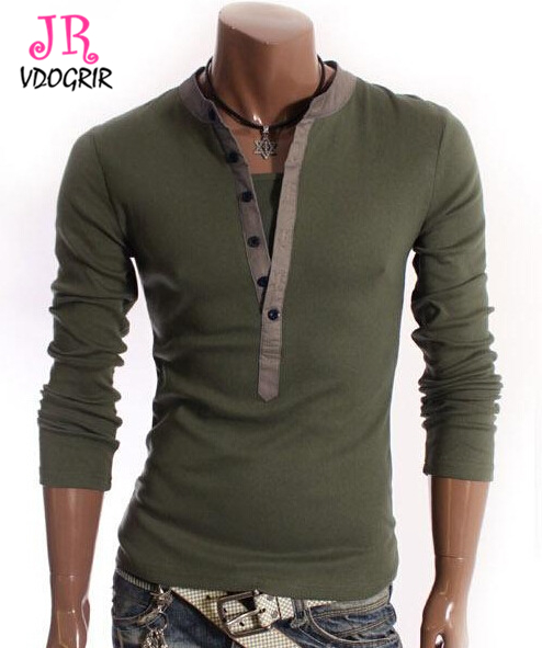 cf1f7b972145 Fashion Full Sleeves T shirt For Male Army Green Stand V neck Button Open  Solid Multi color Top Tees-in T-Shirts from Men's Clothing on  Aliexpress.com ...