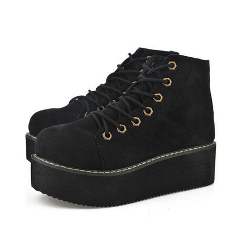 2015 Ladies Creepers Platform Shoes Vintage Lace up Flat Shoes ...