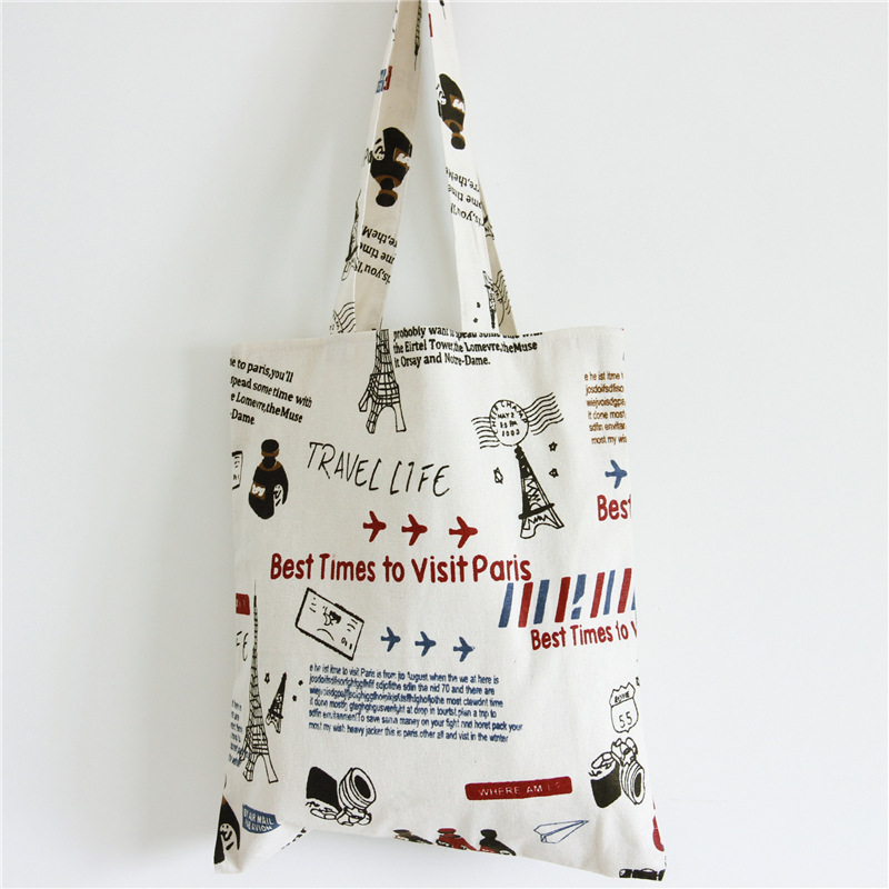 YILE Handmade Cotton Linen Shopping Tote Shoulder Carrying Bag Eco Reusable Bag Printed Eiffel Tower Travelling Life L154