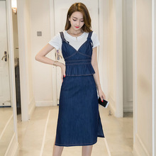 Tshirt + Open Denim Dress Cotton Stitching Fashion Casual Suit 2017 Women Summer Two-piece Slim Kawaii Blue Sexy Bodycon Korean