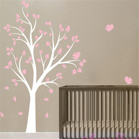 Large Tree and birds Vinyl wall decal stickers for Baby girl Nursery room kids wall art decoration