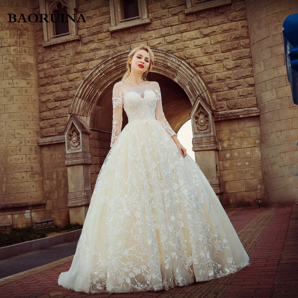 2018 New Wedding Dress The Bride Married White Lace Long Sleeved ...