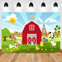 Cartoon Farm Barnyard Animal Theme Backdrop Red Little Farmer Birthday Party Banner Baby Shower Cake Table Decorate Background
