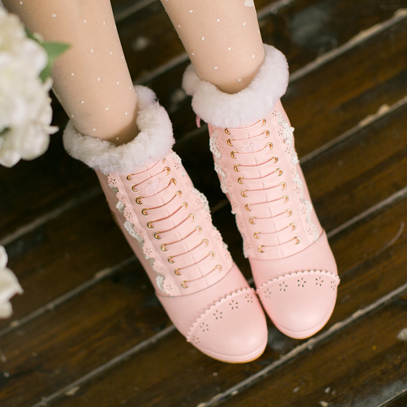Sweet Japanese Beauty Women Ankle Boots Winter New Lace Bow Snow Boots For Women Lace Up Platform Thick High Heels Lolita shoes (14)