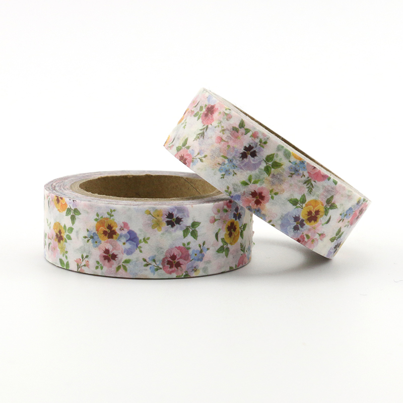 1X DIY Japanese Paper Natural Flower Washi Tape Paper Masking Tapes Adhesive Tapes Stickers Decorative Stationery Tape Floral