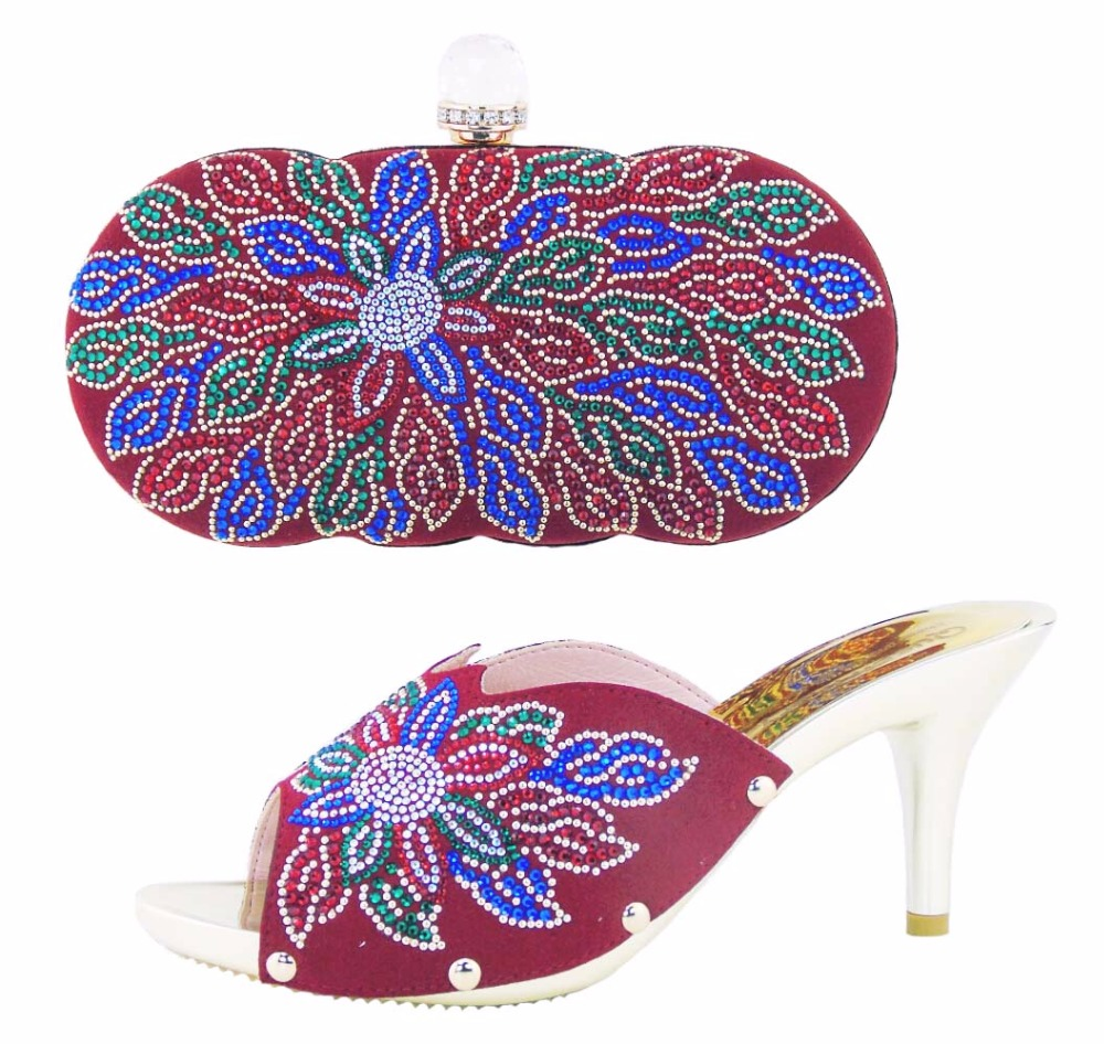 ФОТО Free Shipping African Women Shoes And Bags Set High Quality Italian Shoes And Matching Bags For Wedding Red Color HS002