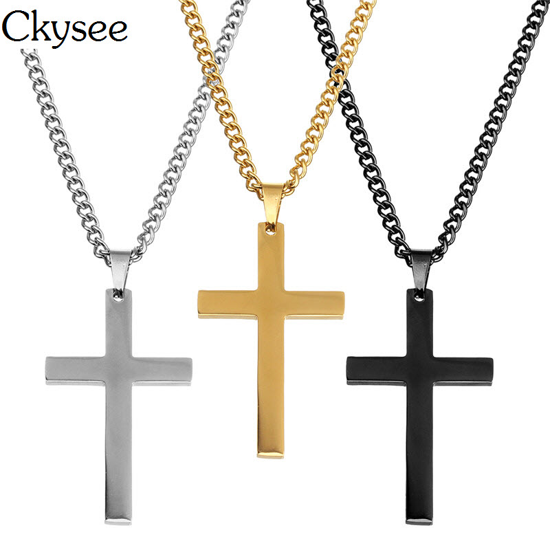Ckysee 2018 Women Trendy Gold Long Chain Cross Pendant Necklaces Fashion 60mm Stainless Steel Collier Femme Boho Jewelry F5903