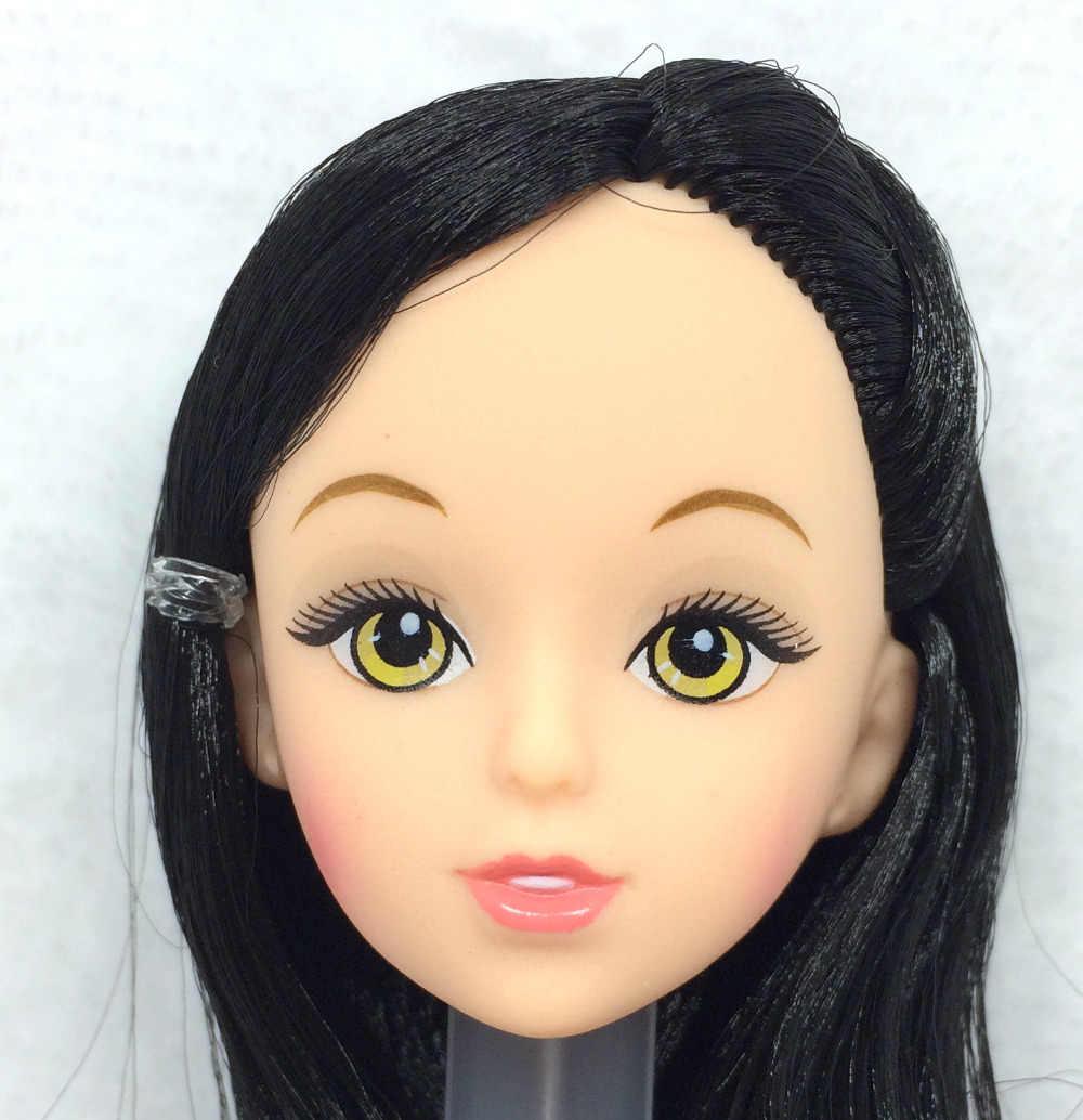 Nk واحدة قطعة أزياء دمية رئيس أسود الشعر diy الملحقات باربي kurhn دمية أفضل الفتاة هدية الطفل ديي اللعب 024J