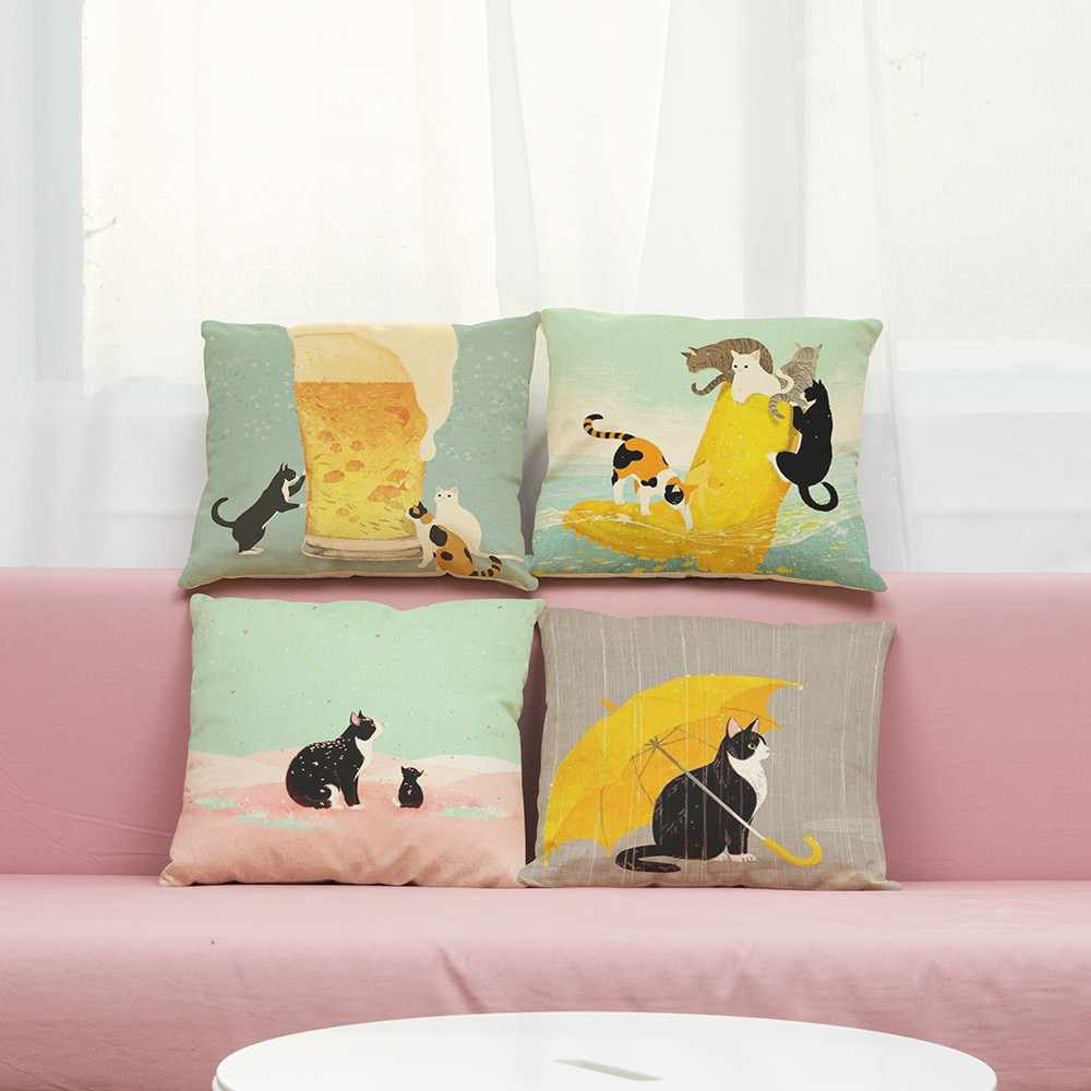 Cute Cat Sofa Bed Home Decoration Festival Pillow Case Cushion Cover sofa coffee shop li ...