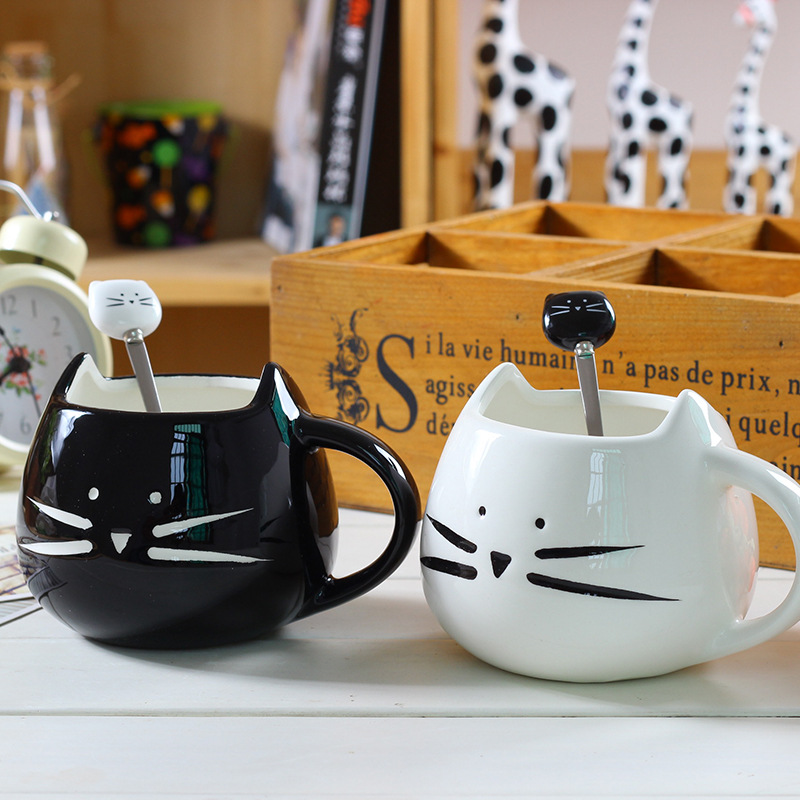 Ceramic Cute <font><b>Cat</b></font> Mugs With Spoon Coffee Tea Milk Animal <font><b>Cups</b></font> With Handle 400ml Drinkware Nice Gifts image
