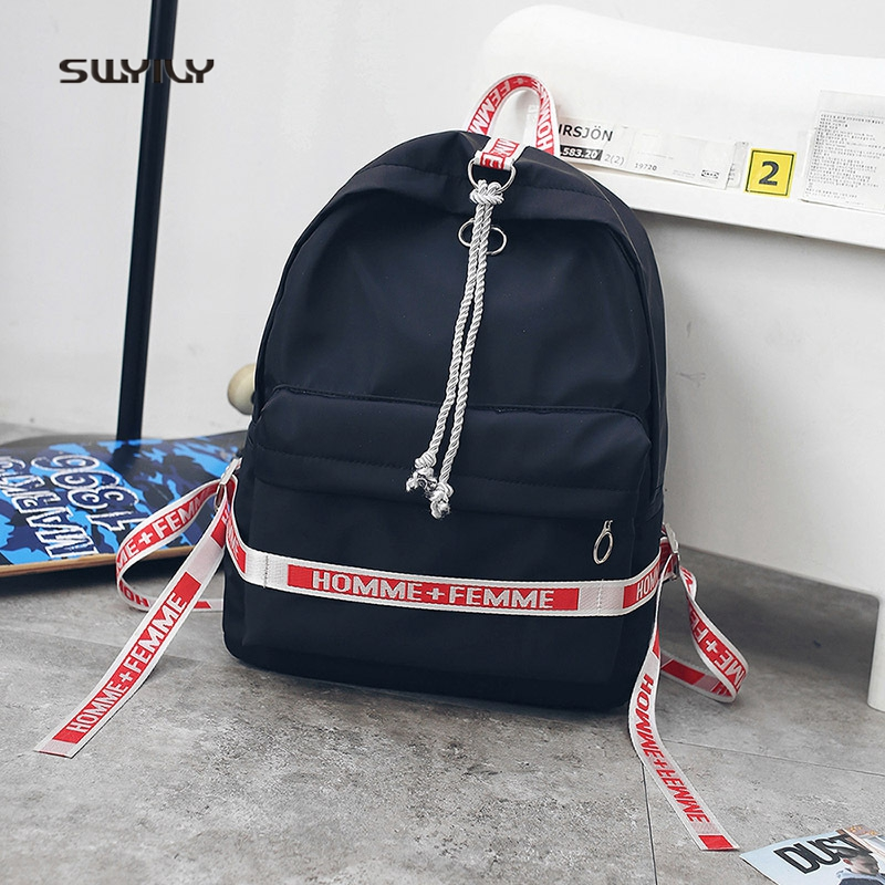 SWYIVY Women Backpack Tassel Canvas Travel 2018 Ulzzang Leather Rope Girl Shoulder Bag Couple Fashion Street Backbag Woman Bag
