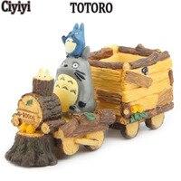 Cartoon Totoro Driving Car Resina Fai Da Te Display Collection Toy Hayao Miyazaki Anime Mio Vicino Totoro Bambola Bambini Regalo Di Compleanno