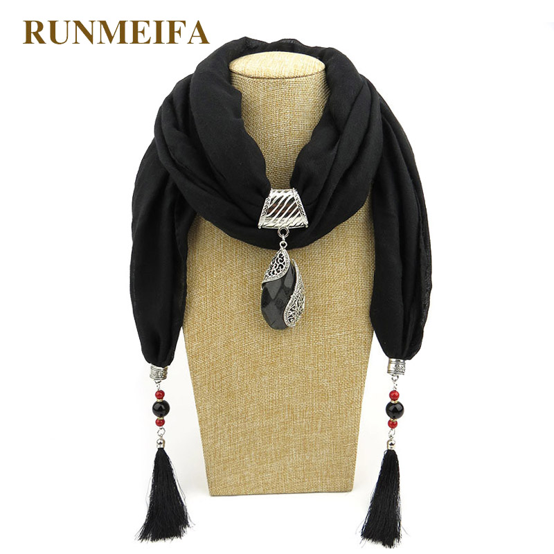 цены RUNMEIFA Jewelry Tassels Scarf Necklace Pendant Neckerchief Scarves Women Muffler Ladies Polyester Cotton Scarf Shawl Wrap