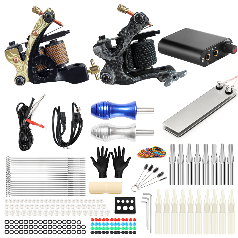 Solong Tattoo Machine Set Two Coil Machine For Liner and Shader Power Supply Foot Pedal Grip Needles Tattoo Body&Art TK201-6 stigma tattoo complete 2 coil tattoo machine kit power supply foot pedal switch needles set tk201 6
