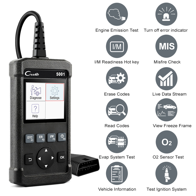 Launch X431 OBD2 Scanner CR5001 Car Diagnostic Tool Read Clear Code Engine Analyze Check Automotive Scanner for Toyota Many Cars