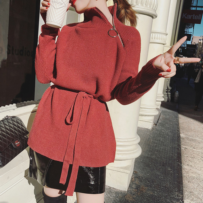 Zipper Turtleneck Solid Women Sweater Loose Lace Up Knitted Full Sleeve Pullovers Feminino Soft Female Autumn Long Jumper 2018