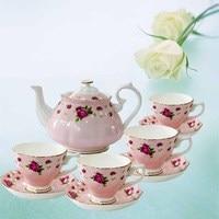 Британский пастырской день чайник костяного фарфора набор чашка кофе дома керамический горшок