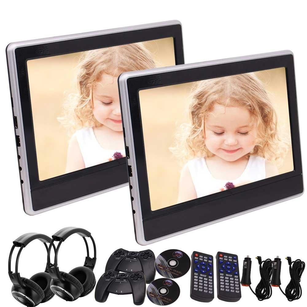Pair of headset included! Dual 11.6 Backseat DVD Player TFT LCD Screen Car Headrest Monitor Support HDMI/USB/SD Input IR/FM
