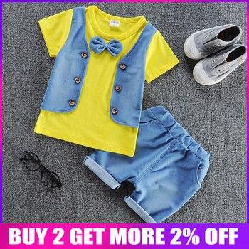 50b4d8857 BibiCola verano niños conjuntos de ropa para niños trajes casuales chaleco  a rayas + Pantalones cortos traje de ropa para bebé niños chándal