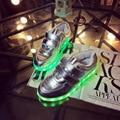 USB blanco y negro Niños Zapatos con Luz hasta la Cesta de carga Led luz de zapatillas de tenis para la Muchacha Del Muchacho embroma enfants up entrenadores