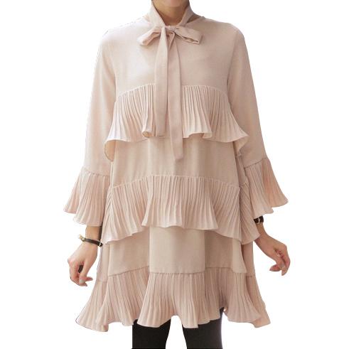 [Twotwinstyle] primavera de Corea Del Empalme Plisado Riza Más El Tamaño de Vestidos de Las Mujeres Con Sash Lace Up Lindo Ropa de Color Negro Nuevo