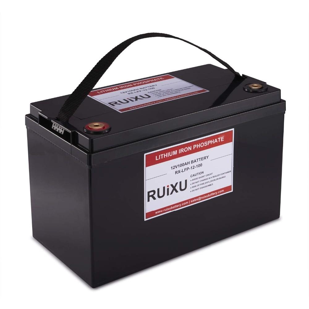 RUIXU LiFePO4 12 V 100Ah Bateria de Fosfato De Ferro De Lítio Peso Leve LiFePO4 Completa Da Bateria (BMS Incluído)