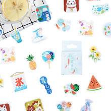 46pcs/pack Japanese Style Summer Festival Special Shape Decorative Sticker DIY Album Handbook Decoration Stickers Scrapbooking