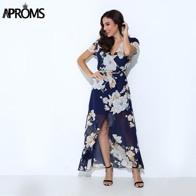 Aproms Sexy Impresión Floral Vestido Maxi Del Verano Del Banquete de ...