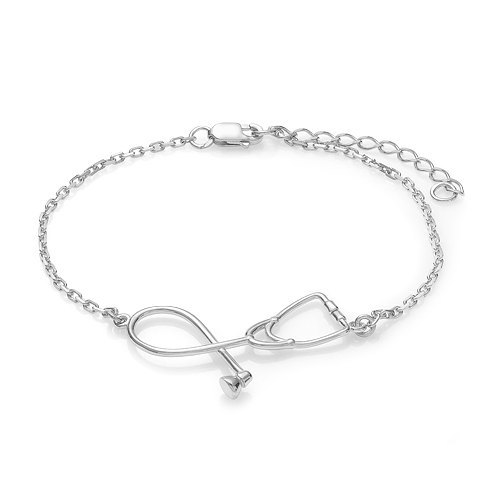 Stethoscope bracelet fashion medical jewelry gift for nurse doctor stethoscope bracelet fashion medical jewelry gift for nurse doctor medical student silver plated stethoscope pendant in charm bracelets from jewelry aloadofball Image collections