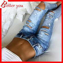 Popular spring Summer women jeans elastic hole female Slim Denim Jeans ripped Boyfriend Sexy Hole Pencil Trousers