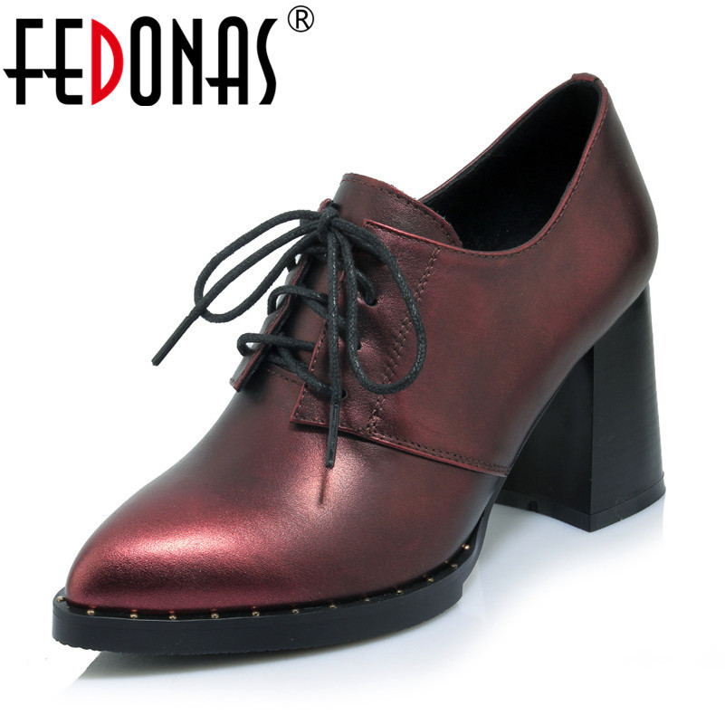 FEDONAS 2019 New Spring Autumn High-Heeled Shoes Woman Genuine Leather Sexy Thick Heels Platform Pumps Pointed Toe Prom Shoes hee grand sweet patent leather women oxfords shoes for spring pointed toe platform low heels pumps brogue shoes woman xwd6447